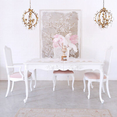 Shabby Cottage Chic French Style Vintage Dining Table  White Romantic Furniture