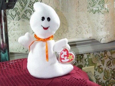"""Halloween TY Beanie Baby babies Spooky Ghost 10-31-1995 retired mint tag 8"""" Long"""