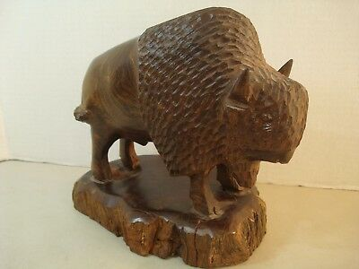 "Lg 9"" Ironwood Hand Carved BUFFALO BISON Sculpture Figure Southwest NICE"
