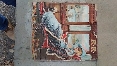 1880s Poster Sign,Chicago and Alton Railroad Train,Lady in Parlor Car,Route Map