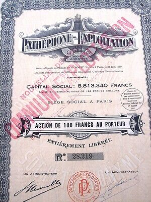 Pathéphone-Exploitation Phonographs - orig 1932 French Stock Certificate