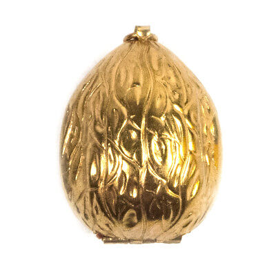 """Victorian Gold Plated Walnut Shaped Travel Portable Sewing Kit 1.75"""""""