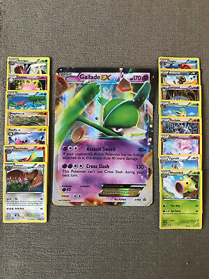 Brand New Mint Pack of 15 Stage 1 Pokemon Cards & Jumbo Gallade EX Card XY45
