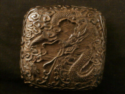 Lovely Antique Chinese Black Hand Carved *Dragon* Square Box D093