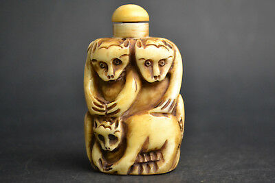 Wonder Collectible Decor Old Carving 3 cats handwork Snuff Bottle statue