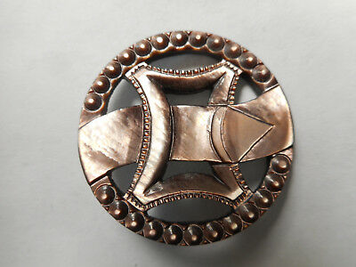 Large Carved Smokey MOP Pearl Pierced Buckle Shaped Antique Button RS 1-3/8""
