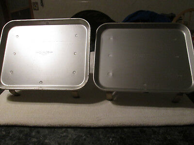 2 Vintage TRACO Dallas Aluminum Car Hop Window Trays Drive In Food Server