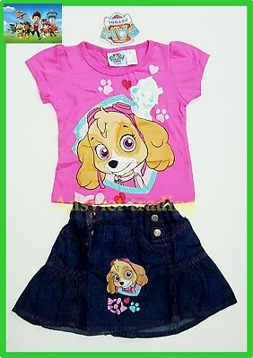 BNWT PAW Patrol girls cotton top t-shirt tshirt denim skirt 2pc oufit set New