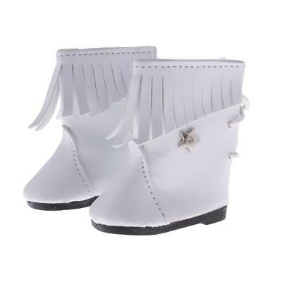 """White Mid-calf Boots Shoes for 18"""" AG American Girl OG Our Generation Doll"""