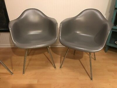 Genuine Herman Miller Eames fiberglass Arm Shell chairs Gray PaIr Fiberglass