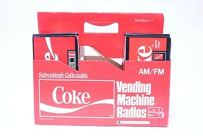 Vtg Coke Coca Cola Vending Machine Novelty Radio 6 Pack Carrier Store Display