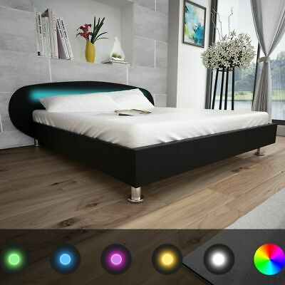 vidaXL Letto matrimoniale nero in pelle artificiale con striscia LED 180 x 200cm