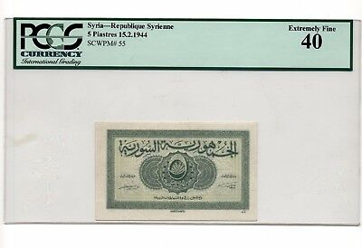 SYRIA 5 Piasters 1944 Pick # 55 with certificate PCGS 40 EF