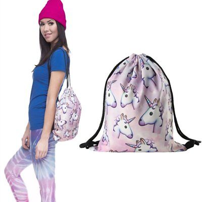 Unicorn Drawstring Gym Bag School Library Swimming Travel Kids Sports Backpack