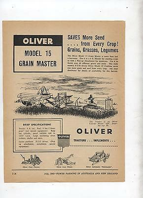 Oliver 15 Grain Master Harvester Header Advertisement from 1952 Farming Magazine