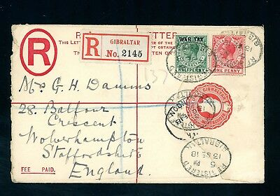 Gibraltar 1918  Reg. Postal Stat  Cover to England with War Tax Issue (D862)