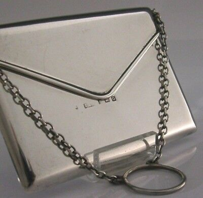 Superb Art Deco English Antique Solid Sterling Silver Envelope Card Case Novelty