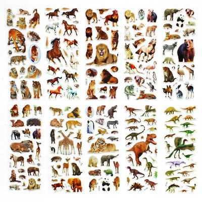 10 Sheets Wild Animals Scrapbooking Bubble Adhesive Stickers Reward Kids Toys