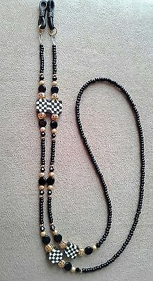 !!  Beaded Crystal Checkered Check Eyeglass Courtly Chain  Handmade !