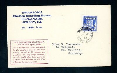 1944  Guernsey  2 1/2d Arms  'Swanson's'  Rationed Stamp Cover   (D808)