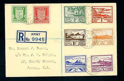 1945  Jersey  Registered Cover with Occupation  Issues,  8 Stamps  (D806)