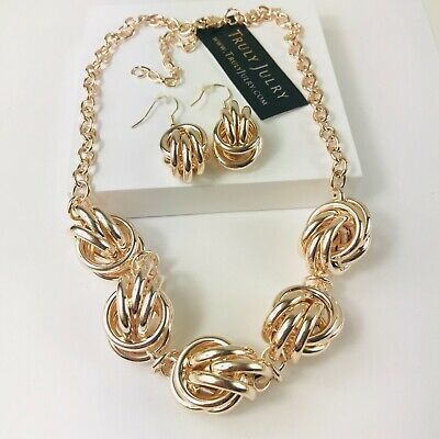 UK Ladies Luxury Designer Rose Gold Link Necklace Earring Set Jewellery Gift