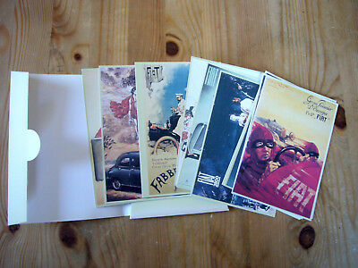 Fiat historic postcard set in wallet, issued by press office to media, excellent