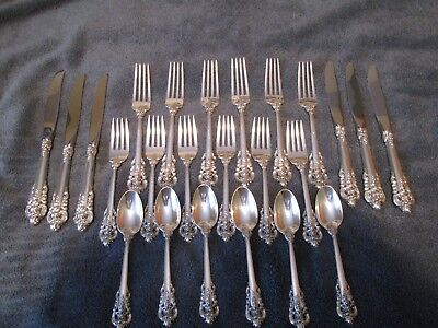 Grande Baroque By Wallace Sterling Silver Flatware Set Of 29 Pieces,excellent