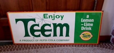 RARE 1950s TEEM SODA Large Embossed Metal SIGN.....L@@K!