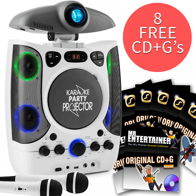 Karaoke Machine LCD Projector LED Lights Inc 2 Mics, 8 CD+G Discs & Party Lights