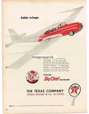 "1947 Texaco Sky Chief Gasoline ""Adds Wings"" Flying Car Vtg. Print Ad"