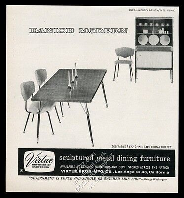 1957 Kjer-Jakobsen modern table chairs buffet photo Virtue Bros vintage print ad