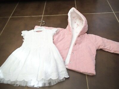 baby girls jacket and dress age 0=3months