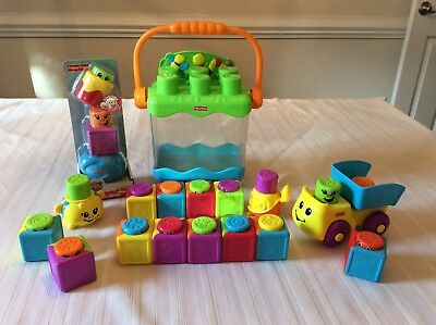 Fisher Price Lot Stack Surprise Peek Boo Blocks Case Numbers Truck Whale Pop Up