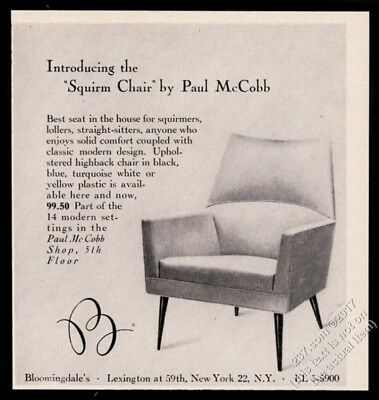 1957 Paul McCobb modern Squirm Chair photo Bloomingdale's vintage print ad