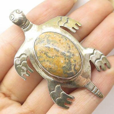 Vtg Mexico 925 Silver Real Large Unakite Gem Sea Turtle For Good Luck Pin Brooch