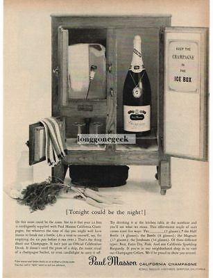 1959 PAUL MASON Champagne in Antique Icebox VTG PRINT AD