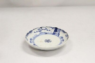 Vintage Chinese Porcelain Blue White Trees Dots Fluted Rim Saucer Blue Ring #8