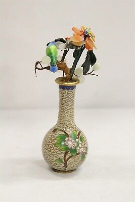 Chinese Cloisonne Gem Enamel Stones Tree Bird on Branch Cabinet Vase