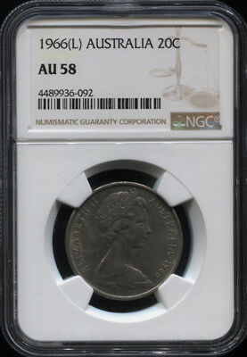 Tt 1966(L) Australia 20 Cents Elizabeth Ii Ngc Au 58 The Only Certified Example!