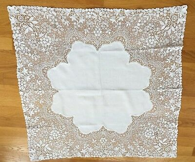 "Antique Chemical Lace linen table cloth Beautiful Floral 31"" sq Aetz Lace"