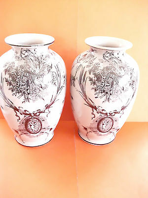 Two Crackle Glazed Vases With Cherubs/birds Design