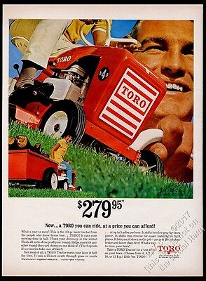 1967 Toro riding mower 4hp lawn tractor photo vintage print ad