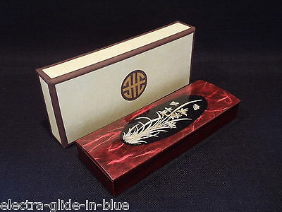 Japanese Inlaid With Mother Of Pearl Oblong Lacquered Table Top Box