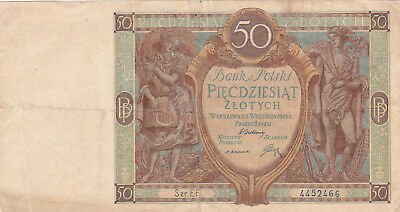 50 Zlotych Very Fine Crispy Banknote From Poland 1929!pick-71!!