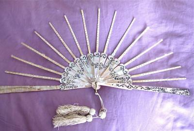 Attractive Antique Inlaid Mother of Pearl Fan Sticks