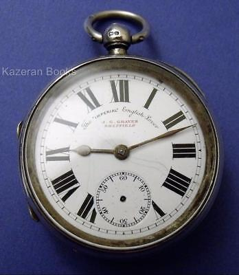 Antique Victorian Solid Silver Fusee Fob Pocket Watch J G Graves Imperial 1900