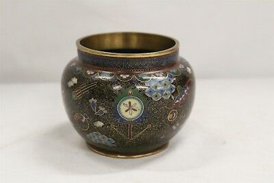 Old Chinese Cloisonne Scroll Squids Bird Coins Urn Green Base Vase WOW