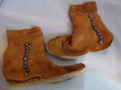 Antique Native American Indian Moccasins Sterling Silver Dome Navajo Buttons