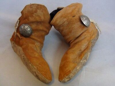 Antique Native American Indian Child Moccasins Sterling Silver Navajo Buttons